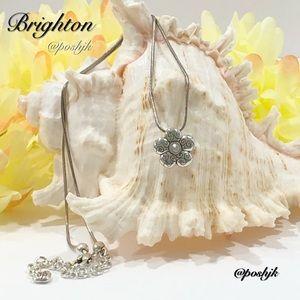 Brighton Petite Crystal Flower Pendant Silver